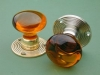 Glass Door Knob Amber - Rose Ribbed