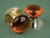 Glass Door Knob Amber - Rose Smooth & Ribbed