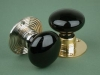 Glass Door Knob Black - Rose Smooth & Ribbed